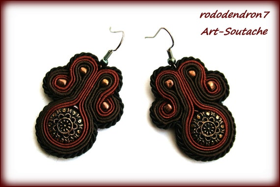 HALF PRICE - Soutache earrings, shiny and classy - Chocolate Pleasure OOAK