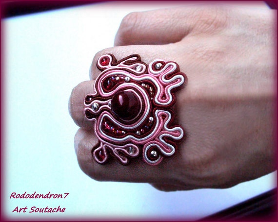 Soutache big adjustable ring - elegant, fashionable and unusual, perfect fot the bridesmate - Red pearl