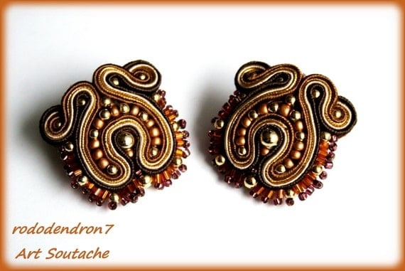 SALE - HALF PRICE - Soutache clip earrings or studs - sparkling, elegant and sexy - Marie Antoinette 2