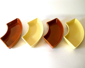Vintage Pottery Relish Dishes California Yellow Brown 1950s