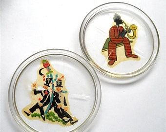 Art Deco Coasters  1930s Glass  Sax Player and Inebriated Man Barware