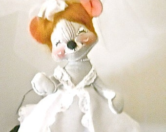"Vintage Bride Mouse 14"" Tall  Annalee 1965"