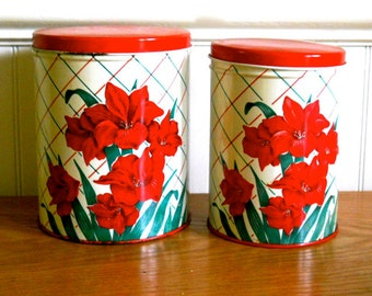 Vintage Kitchen Canisters Red White Green 1950s