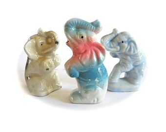Vintage Elephant Porcelain Circus Collection 1940s - 50s Cake Toppers