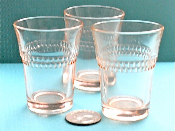 Vintage Pink Depression Shot Glasses