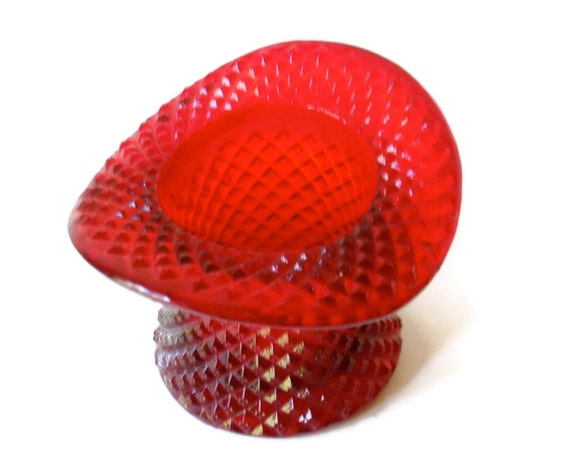 Vintage Westmoreland Ruby Glass Top Hat 1950s
