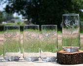 Etched Buck Tumbler Set of 4