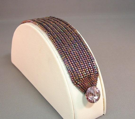 Beadwoven Bracelet of Lavender AB  using Herringbone Stitch