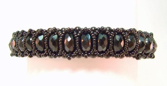 Beadwoven  Black Bangle Bracelet