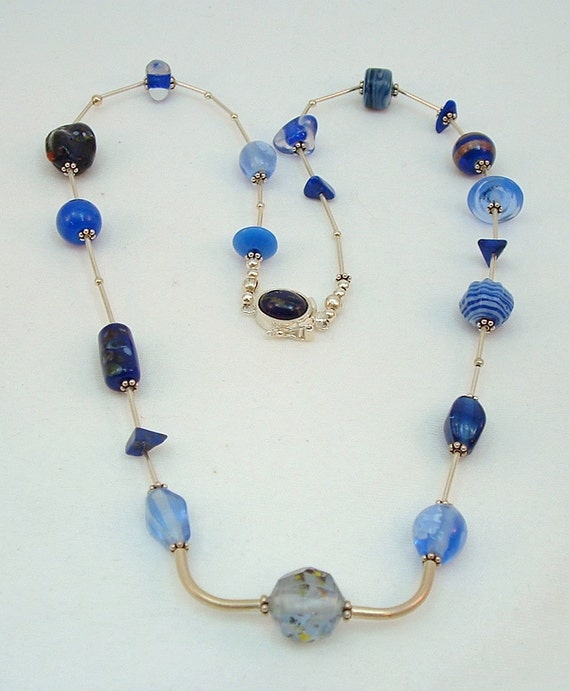 Statement Necklace of Mixed Blue Beads and Sterling Silver