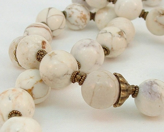 White Turquoise and Antique Bronze Necklace and Earring Set