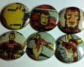 Iron Man Comic Book Button 6-pack