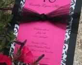 Fuchsia, Black & White Sweet 16 Birthday Invitations