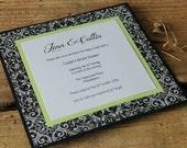 Handmade Black, White & Chartreuse Green Modern Bridal Shower Invitation