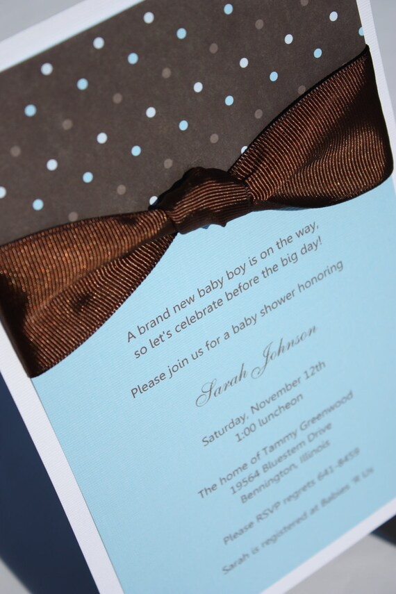 Blue, Brown & White Baby Shower Invitation with Polka-Dots
