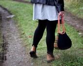 Felt Bag, Wool Felted Purse with Shoulder Straps  (black / coral)