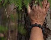 Felt Bangle, Two-Tone Bumpy Bracelet (Shades of Grey)