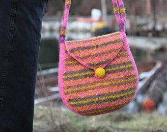 Felted Shoulder Bag, Adjustable Strap (pink stripes)