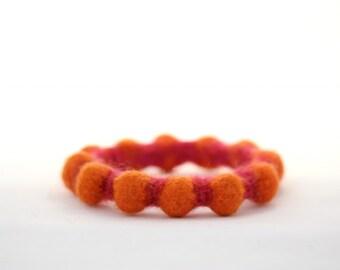 Autumn Felt Bangle, Bumpy Bracelet (positively pumpkin orange / deep pink)
