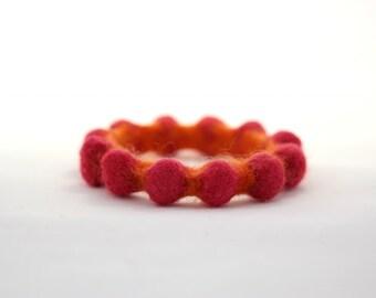 Felt Bangle, Two-Tone Bumpy Bracelet (deep pink / positively pumpkin orange)