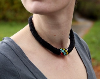Necklace, Lampwork Glass Bead and Felt (black, red, blue, yellow, purple)
