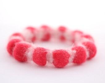Candy Cane Felt Bangle, Two-Tone Holiday Bracelet (red and white)