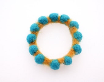 Felted Wool Bangle (yellow and turquoise)