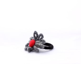 Felted Flower Bangle (grey with a splash of red)