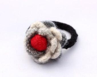 Flower Bracelet in Felt (grey with a splash of red)