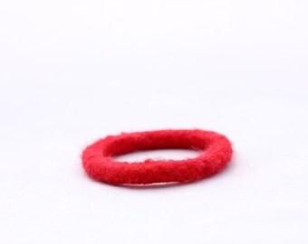 Kid's Bracelet, Felt Bangles in Bright Red