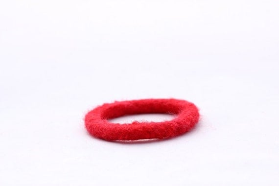 Kid's Bracelet, Felt Bangles in Bright Red