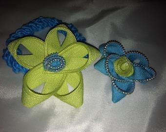 Turquoise & Green Zipper Ponytail Set