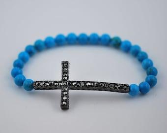 Free Domestic Shipping Turquoise Black Sideways Cross Bracelet