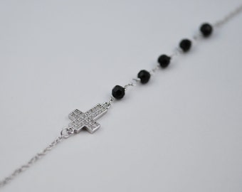Free Domestic Shipping Sterling Silver Cross with Black Onyx Beads Bracelet