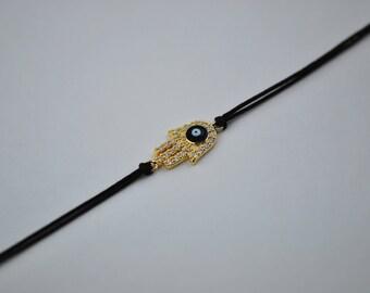 Free Domestic Shipping Sterling Silver Gold Color Hamsa Evil Eye Chord Bracelet