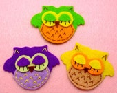Handmade ASSORTED sleeping owl felt appliques - set of 12 pcs (A115-Ass-GHI)