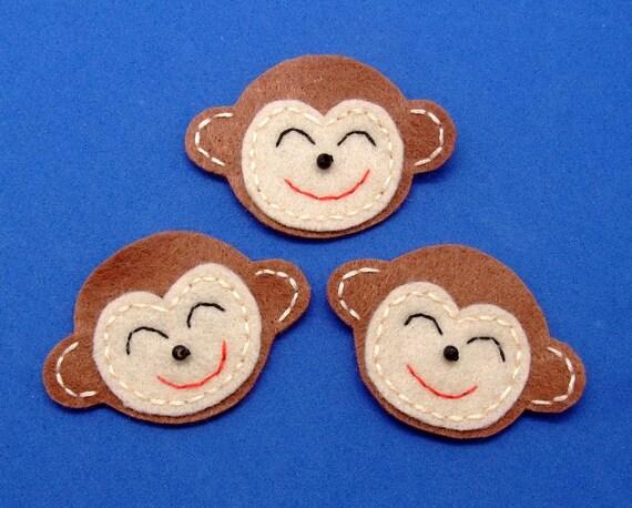 Handmade monkey face felt appliques - set of 6 pcs (G054)