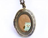Antique Bronze Locket - Owl Series 006