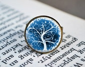 Antique Bronze Adjustable Ring - Abstract Winter Blue and White Tree Of Life