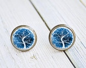 Antique Bronze Stud Earrings - Abstract Winter Blue and White Tree Of Life