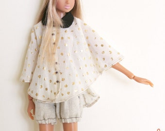 RYBG Creation - White Gold Butterfly Style Shirts Top Momoko or Nippon or Blythe