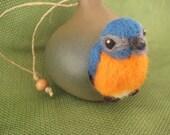 Needle Felted Bird - Eastern Bluebird in a Gourd Birdhouse