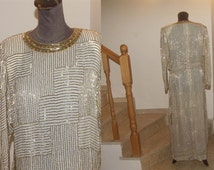 GORGEOUS vintage 1960s dazzling gold heavily handbeaded 100%  silk evening gown made in HongKong