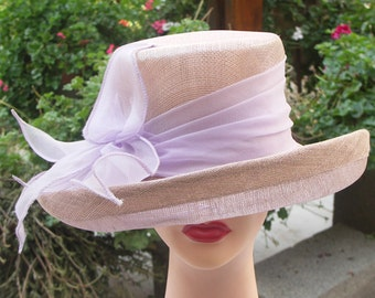 Vintage 80s rose colored straw high crown wedding garden party Church hat with wide ribbon band