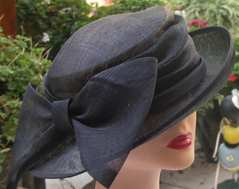Vintage straw wide brim navy hat with extra large bow
