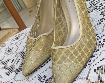 J Loren vintage 60s rhinestone gold mesh satin heels