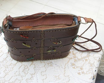 Clearance Markdown: Vintage brown leather  handmade box bag with colored ribbons