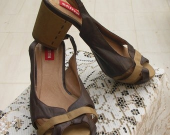 Gazith vintage 80s brown tan peep toe slingback heels