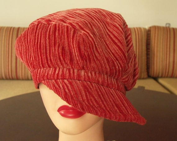 Vintage 70s 80s reddish orange cordorouy cap with brim