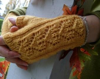 Handknitted fingerless gloves, Size S
